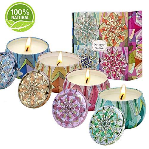 Kriogor Duftkerze Set, Natürliches Sojawachs 4 * 4oz Aroma Kerzen Geschenkset für Aromatherapie, Massage, Stress Abzubauen