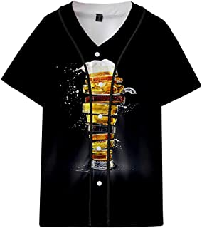 Men's Summer Beer Festival 3D Printing Thin Short Sleeve Baseball Clothing Tops