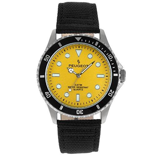 Peugeot Men's Sport Bezel Watch with Yellow Canvas Wrist Band