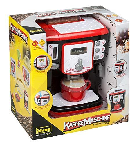 Idena 40453 - Haushaltsserie Kaffeemaschine mit verschiedenen Funktionen, Licht- und Toneffekten, ca. 15 x 27 x 28 cm, für Kinder, zum Erlernen praktischer Fertigkeiten in der Küche, batteriebetrieben
