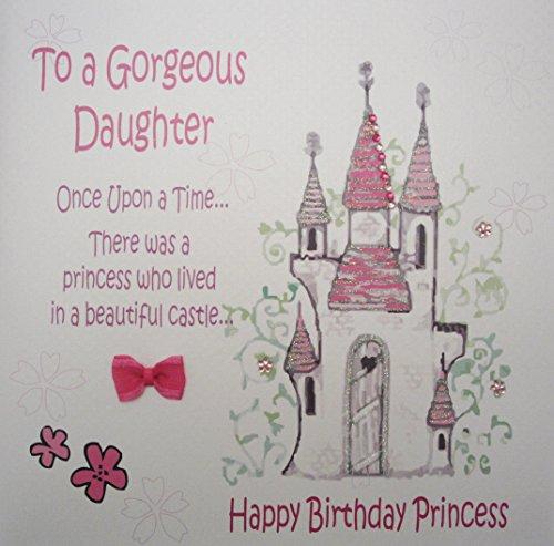 witte katoenen kaarten Aan Een Prachtige Dochter, Handgemaakte Grote Verjaardagskaart, Sprookje, Prinses Kasteel (Code XGL6)