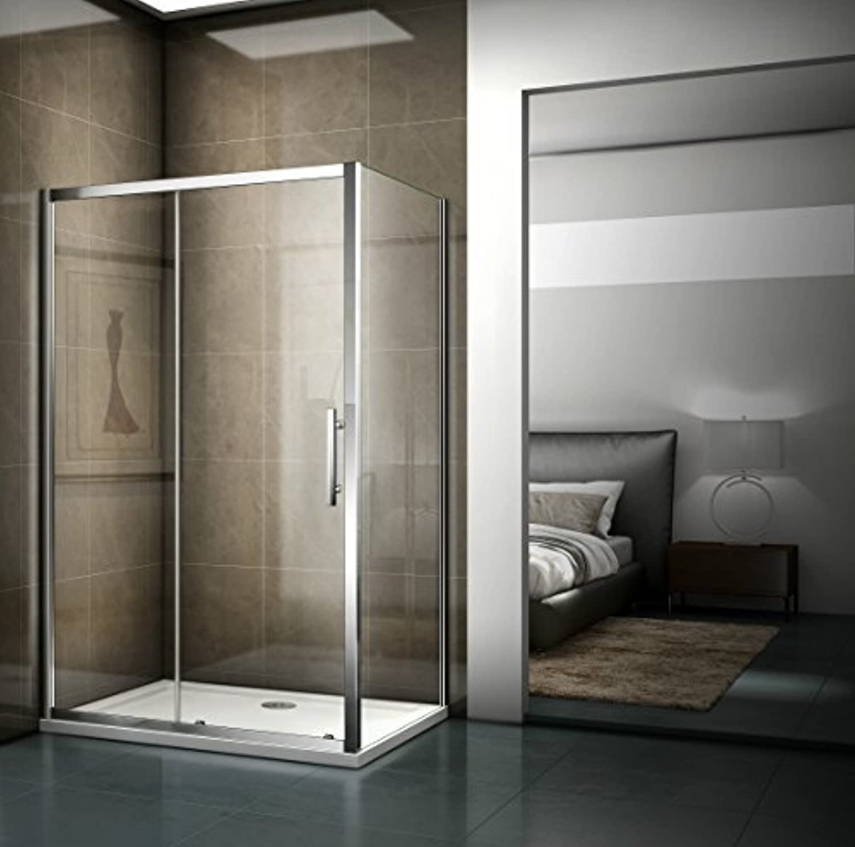 120x185cm Eckeinstieg Duschabtrennung Nischentür Duschtür Duschwand 5mm Sicherheitsklarglas mit 90cm Seitenwand