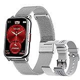 Smartwatch Mujer, 1.57 Inch Reloj Inteligente IP68 con Pulsómetro, Monitor de Oxígeno de Sangre y Sueño Calorías, Presión Arterial,Notificaciones Inteligentes, Reloj Mujer para iOS y Android (Plata)