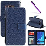 Samsung J7 2016 Case LEECOCO Embossed Floral Wallet Case with Card Cash Holder Slots Wrist Strap [Kickstand] Premium PU Leather Flip Slim Case Cover for Samsung Galaxy J7 2016 J710 Rattan Dark Blue
