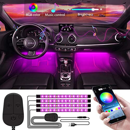 WILLED Auto LED Innenbeleuchtung, 4pcs 48LED Auto RGB Strips, Upgrade Kontrolleur, Wasserdicht Beleuchtung APP Steuerbare mehrfarbig Musik Innenbeleuchtung, 5V USB Port