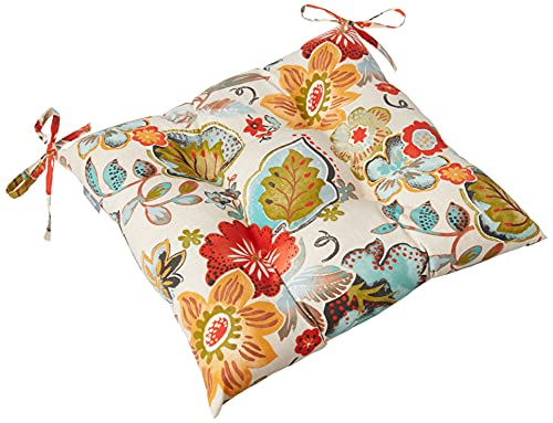 """Pillow Perfect Outdoor/Indoor Alatriste Ivory Tufted Seat Cushions (Square Back), 19"""" x 18.5"""", Floral, 2 Count"""