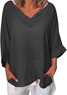 Summer Tops for Women 2019 Tronet Linen Shirts for Women O-Neck 3/4 Sleeve Solid Linen T-Shirt Loose Pullover Blouse Top