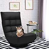 CASART. Folding Sofa <span class='highlight'>Chair</span>, 4 Position Adjustable 360 Degree Swivel Recliner, Home Office Furniture Gaming Reading Rest Lazy Floor Deck <span class='highlight'>Chair</span>s, Black