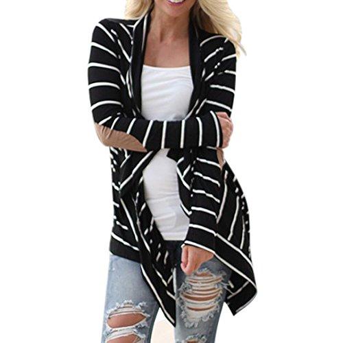 Manteau Femmes Outwear, Toamen Cardigans rayés à manches longues Décontractée Outwear en patchwork Rayures noires et blanches Veste mi-longue pour femme (S, Noir)