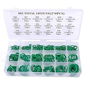 znwiem 270 Piezas Junta tórica de Goma Surtido de 18 tamaños Verde Kit hidráulico Junta de Sellado de Aceite de Gas con Caja de plástico Verde, Caucho, Verde, as Shown
