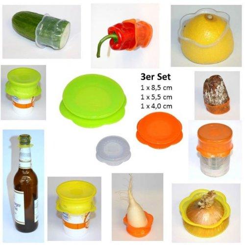 Kochblume Stretchi Überzieher 3er-Set Silikon bunt gemischt 1 x 4 und 5 und 7 cm