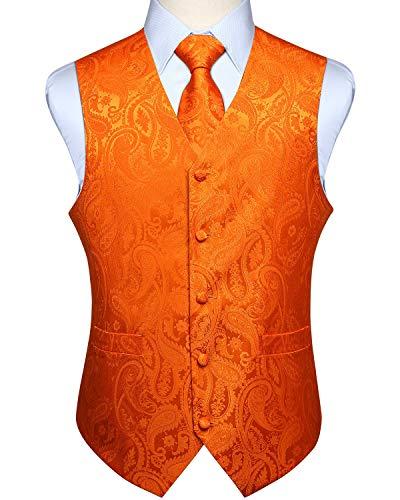HISDERN Herren Weste Paisley Floral Jacquard Krawatte Pocket Square Taschentuch Weste Anzug Set Gr. XL, Orange