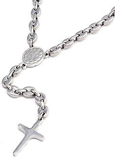DonDon, rosario da uomo, in acciaio inox, da 62 cm, in pratico sacchetto di velluto nero