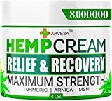Hemp Cream - Relieve Muscle, Joint, Foot & Back with Hemp + Turmeric + Arnica | Natural Hemp Oil Extract Gel - Made in USA - 4oz