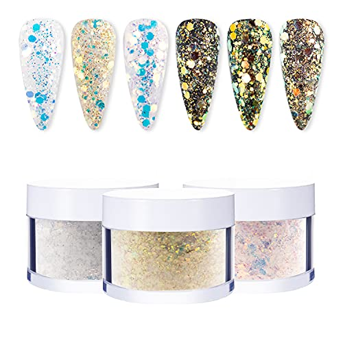 BISHENGYF Poudre Acrylique pour Ongles, 3 couleurs Acrylique Ongle Couleur Poudre à ongles Acrylique Ongle Set Ongles Kit Manucure
