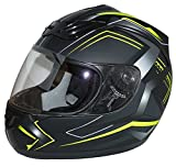 protectWEAR Motorradhelm H510 Arrow Schwarz Matt/Neon - Gelb, Größe M