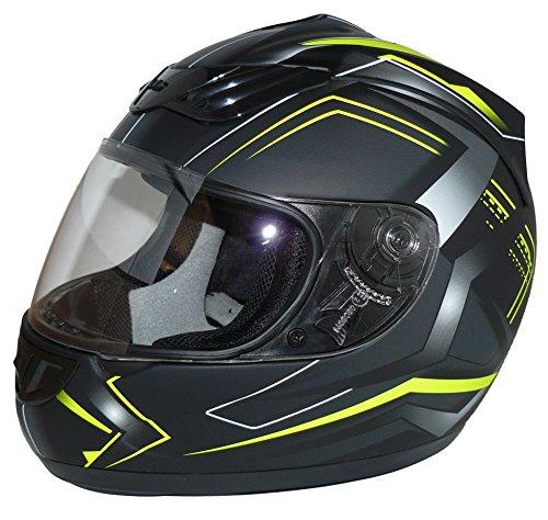 protectWEAR Motorradhelm H510 Arrow Schwarz Matt/Neon - Gelb, Größe S