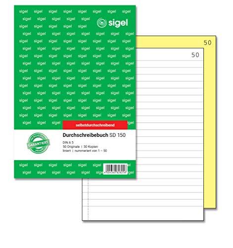 SIGEL SD150 Durchschreibebuch liniert, A5, 2x50 Blatt, nummeriert, selbstdurchschreibend