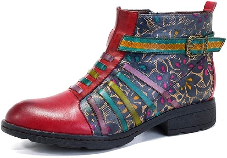 Ruanyi Damenstiefel, Casual Vintage Ethnic Leder Kontrastfarbe Retro Cowboy-Mitte der Wade Stiefel für Damen (Farbe   rot, Größe   37EU)  | Vielfalt  | Um Zuerst Unter ähnlichen Produkten Rang  | Tadellos