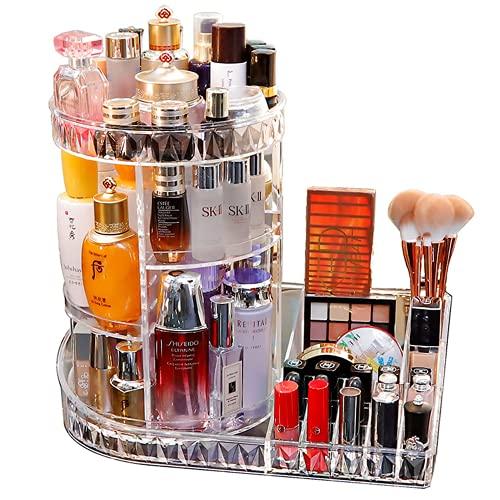 DONGXING Organizador de belleza, maquillaje y cosméticos, giratorio 360 grados, 5 niveles ajustables, para dormitorio, cuarto de baño, transparente