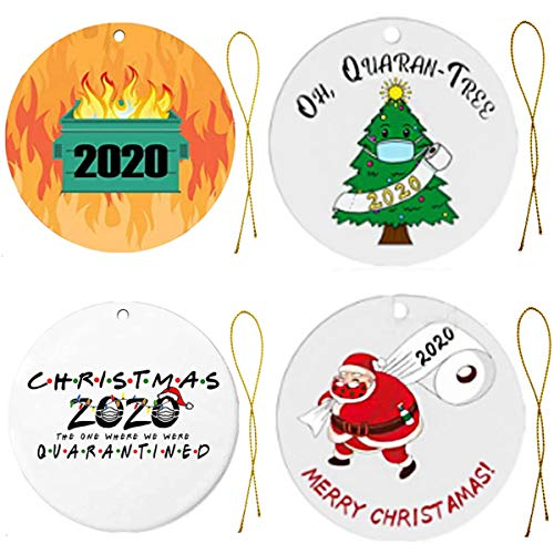APzek 2020 Quarantine Christmas Ornaments, 4 Pack Cute Ornaments for Christmas Tree Decor, The Year We Stayed Home, Hanging Christmas Decorations Indoor Outdoor Home