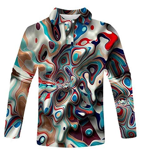 FDJIAJU Polo De Manga Larga,Color Abstracto Hombres Moda Polo Camisa Casual 3D Estampado Patrón Camisa Manga Larga Manga Completa Manga Caliente Casual Transpirable Casual Trajes Top Blusa 087,2XL