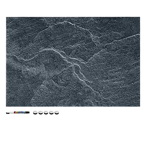 Navaris Pizarra magnética de Cristal - Tablero de Notas de Vidrio - Tablón magnético para tareas con imanes Soporte y diseño de Piedra - Negro