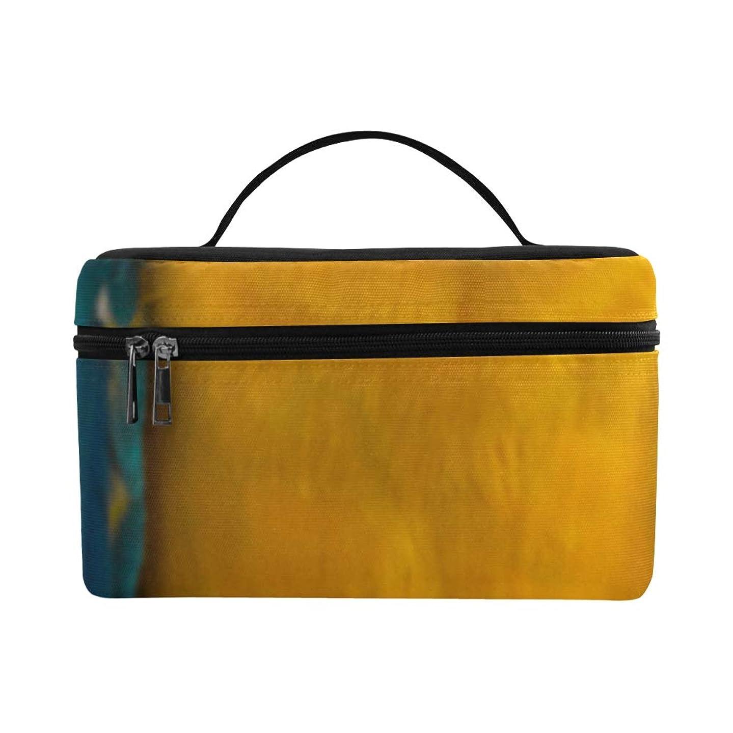 謎めいた形式後継XHQZJ メイクボックス 青い ブルー オウム コスメ収納 化粧品収納ケース 大容量 収納ボックス 化粧品入れ 化粧バッグ 旅行用 メイクブラシバッグ 化粧箱 持ち運び便利 プロ用