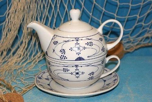 Ocean-Line Set Tea for One Indisch Blau / Strohblume Porzellan ( Kanne Tasse Untertasse )