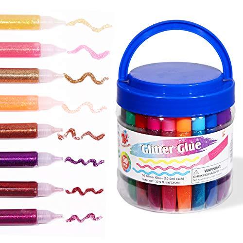 TBC The Best Crafts 50 Farben Glitzerstifte Set waschbarer Glitzerkleber Glitter Glue für Kinder Mädchen Junge 525 ml jeweils 10,5 ml
