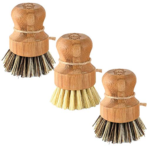 Bamboo Scrub Brush  SampC Kitchen Cleans Pan/Vegetable/Dishes/Wok Scrub Brush Dishes for Kitchen/Bathroom Made Out of Palm amp Sisal Bristles with a Handle Vegetable Brush for Cleaning Set of 3