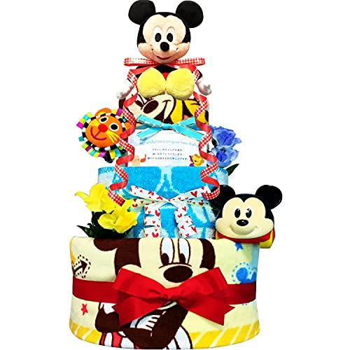KanonBabys おむつケーキ 男の子 ミッキー ディズニー 出産祝い 3段 Mサイズ 4001