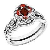Dazzlingrock Collection 14K 5.5 MM Cushion Garnet & Round Diamond Ladies Halo Engagement Ring Set, White Gold, Size 9