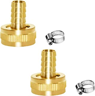 """Joywayus 2Pcs 1/2"""" Barb x 3/4"""" Female GHT Thread Swivel Brass Garden Water Hose Pipe Connector Copper Fitting with Stainle..."""