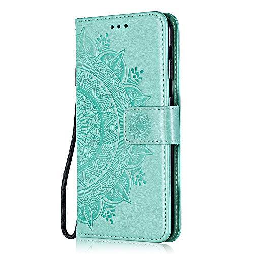 Huawei P20 Lite 2019 Hülle, Bear Village PU Leder Flip Hülle, Stoßfest Brieftasche Handyhülle mit Multifunktion Ständer und Kartenfach für Huawei P20 Lite 2019, Grün