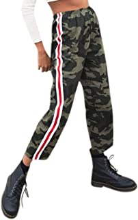 Qootent Women Camo Cargo Pants Ladies Casual Stripe Trousers Loose Ankle Pants