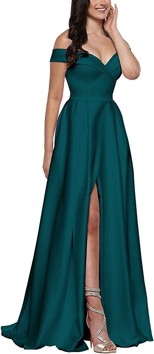 JQLD Women's Satin Sexy V Neck Side Slit Prom Dresses Pleated Long Evening Formal Gowns with Pockets