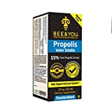Bee and You 15% Pure Propolis Water Soluble Extract - High Potency - Zero Sugar - Zero Calorie - Natural Immune Support&Sore Throat Relief Antioxidants, Keto, Paleo, Gluten-Free, 1 Fl Oz