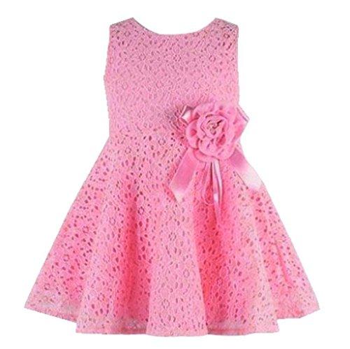 Vovotrade Robe pour Fille avec des Dentelles Enfant Princesse Robe de Soirée 0-2 ans (Size:3, Rose)