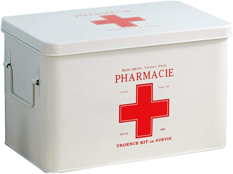 KTYXDE Medicine Box Storage Box Galvanized Iron Household Medicine Box Medicine 31.5x19x20.3cm Medicine Storage Box (color   White)