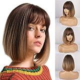 HAIRCUBE Pelucas rectas de Bob corto natural para mujeres Pelucas de color marrón oscuro con flequillo Uso diario…