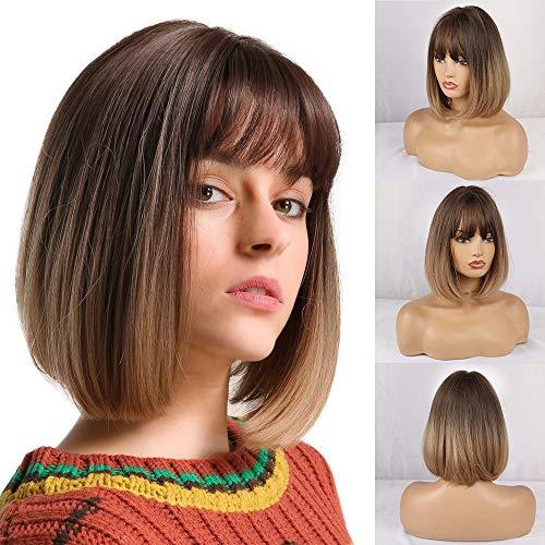 HAIRCUBE Naturalne krótkie peruki bob proste dla kobiet omber brązowe peruki z grzywką do codziennego użytku
