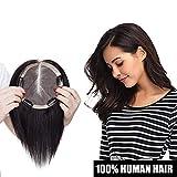 Volumateur Femme Extension a Clip Cheveux Naturel [Couleur: #1B NOIR NATUREL, 6'(15 * 15cm Mono Base)]