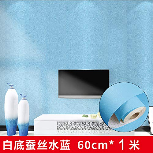behang zelfklevende imitatie doek effen kleur slaapkamer woonkamer muur stickers behang goud staven wit grijs (60CM) Thickened silk water blue 60cm*1m 22