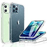 Miracase Glass+ Glitter Clear Protective Case Compatible with iPhone 12/iPhone 12 pro 6.1' with [Built-in 9H Tempered Glass Screen Protector],2020 Full-Body Clear/Silver Glitter Case for Girl Women