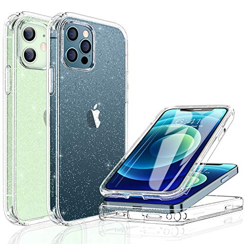 """Miracase Glass+ Glitter Clear Protective Case Compatible with iPhone 12/iPhone 12 pro 6.1"""" with [Built-in 9H Tempered Glass Screen Protector],2020 Full-Body Clear/Silver Glitter Case for Girl Women"""