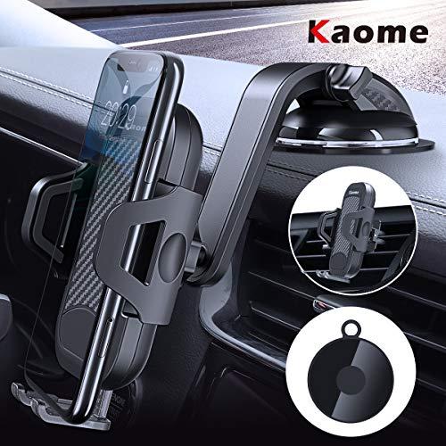 Kaome 3 in 1 Handyhalter fürs Auto Windschutzscheibe Lüftung Handyhalterung Universal KFZ Handy Halterung 360° Drehbar Kugelgelenk mit Gel-Auflage Autohalterung Handy mit Kratzschutz (Schwarz)