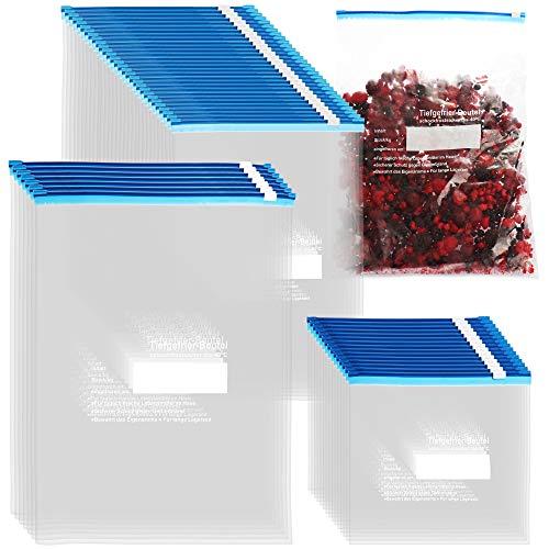 com-four® 52-tlg. Set Gefrierbeutel 1L, 3L, 6L zum Verschließen, wiederverschließbare Frischhaltebeutel zur Lebensmittelaufbewahrung - Allzweckbeutel bis -40°C (52-tlg. Mix Set - 1L. 3L. 6L)