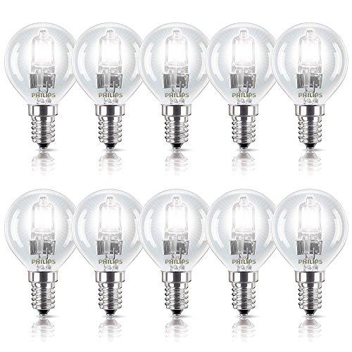 10 x Philips Halogen Glühbirne 28W = 35W / 40W E14 Glühlampe klar Tropfen dimmbar