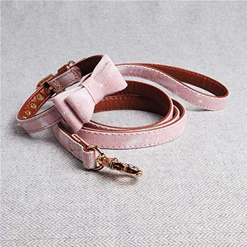 Hondenhalsband Pink Bow Tie Set hondenriem Gentleman Soft Tresor Pet hondenhalsband voor alle seizoenen ademend zacht gevoerd licht gezellig outdoor met voeten, 1.3*42CM